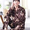 Otoño Invierno Para Hombre Establece Pijama de Manga Larga de la Rebeca Hombres Trajes ropa de Noche Masculina de Franela Pijamas Ropa de Dormir Loungewear L-3XL Moda