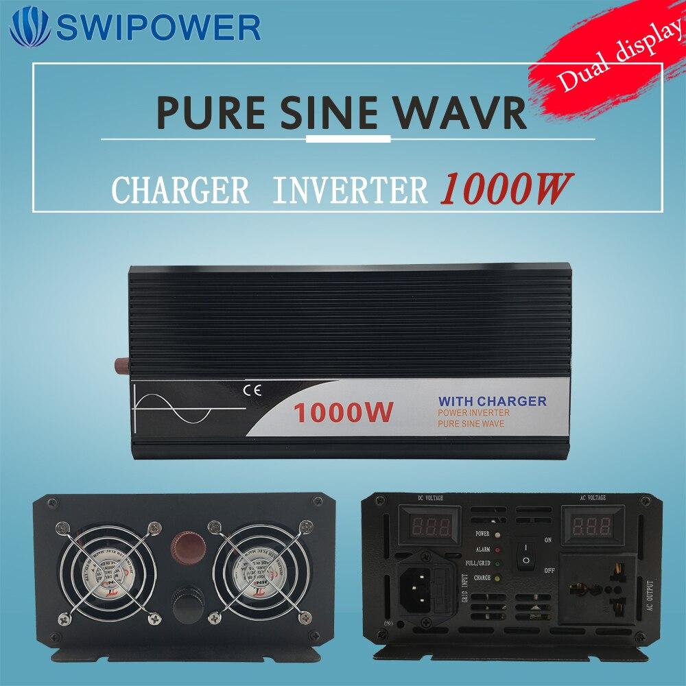 UPS инвертор 1000 Вт Чистая синусоида Инвертор с зарядным устройством 12 В 24 В 48 В постоянного тока до 220 В 230 В 240 В солнечной энергии инвертор