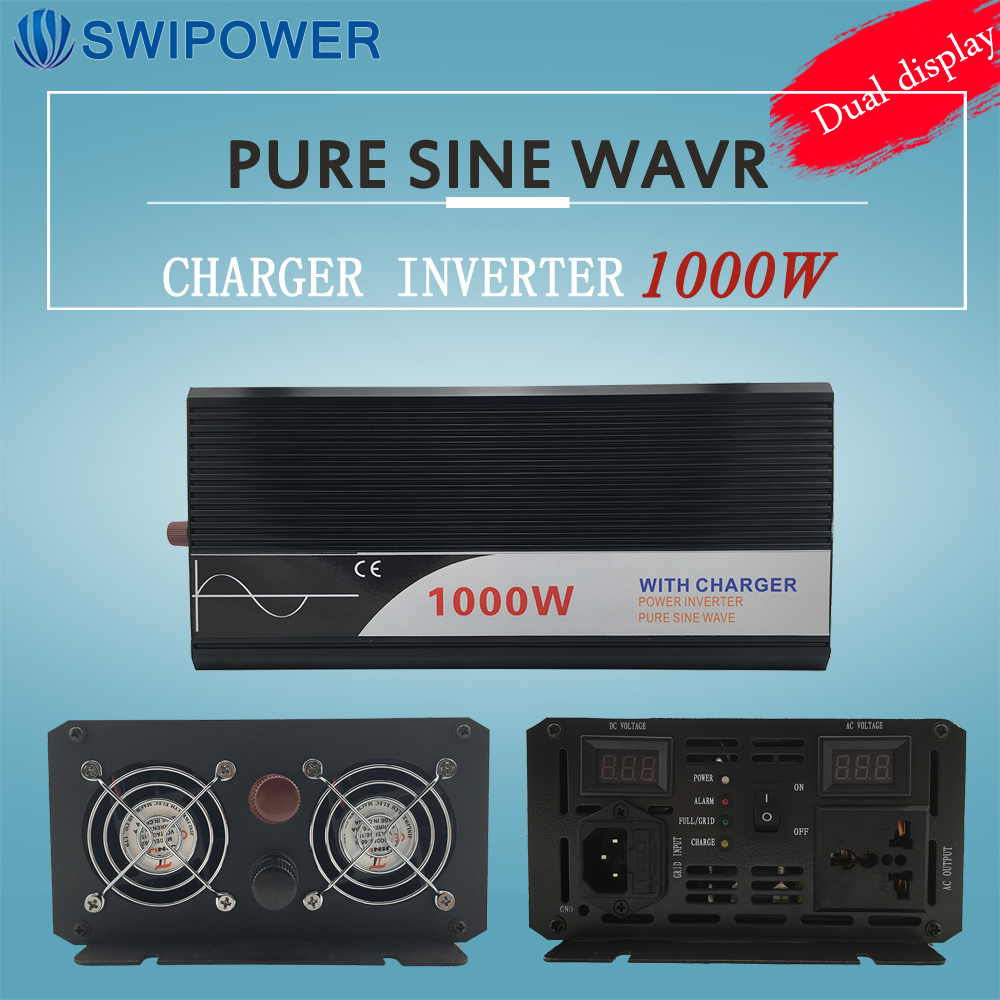 цена на ups inverter 1000W pure sine wave inverter with charger 12V 24V 48v DC to AC 220V 230V 240v solar power inverter