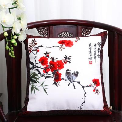 Шикарный элегантный китайский шёлковая наволочка на подушку подушка с цветами крышка Счастливого Рождества диван стул Подушка под поясницу декоративные наволочки - Цвет: Bird plum blossom