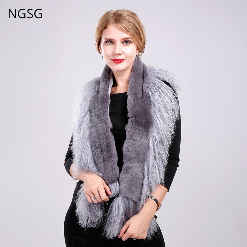 NGSG Real Rex Rabbit Fur Scarf Winter Women Genuine Natural Tassel Mongolian Sheepskin Fur Wool Scarves Shawl muffler Female