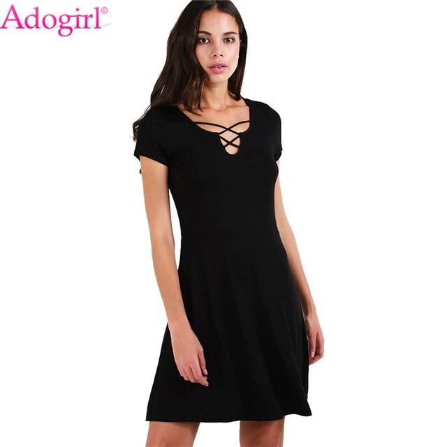 34b3708b55e Adogirl Solid Black Summer Dress Crisscross V Neck Short Sleeve Flare Mini  Casual Dresses Cheap Women