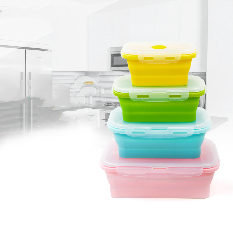 Folding Collapsible Lunch Box Food Grade Silicone Microwave Oven Heat Resistant Outdoor Portable Keep Fresh Storage Box