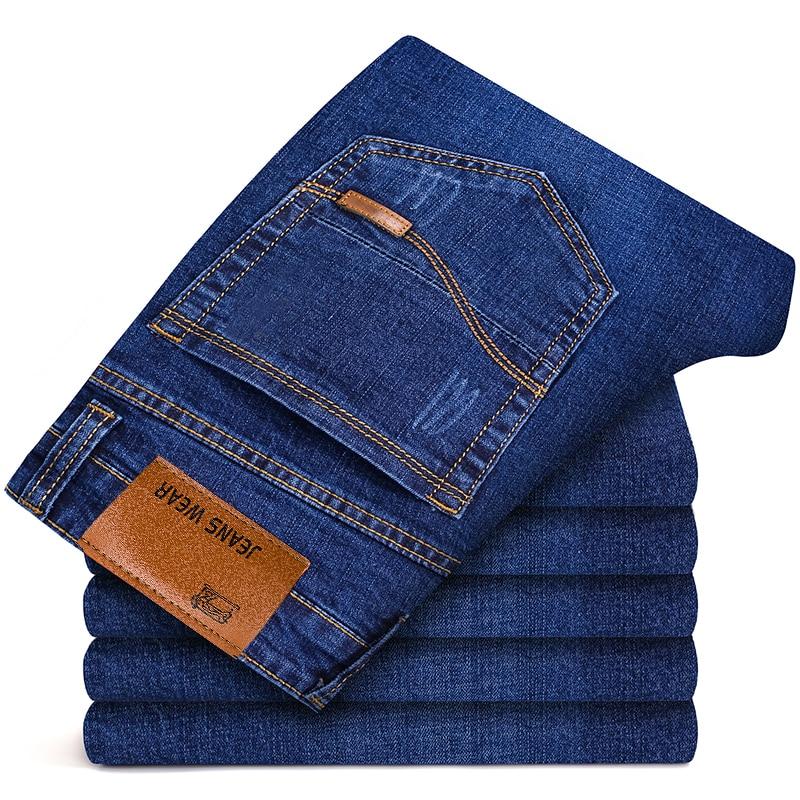 2019 Autumn Spring Mid Weight Men Casual Biker Denim Jeans Stretch Denim Pants Solid Slim Fit Jeans Male Street Skinny Pant 40