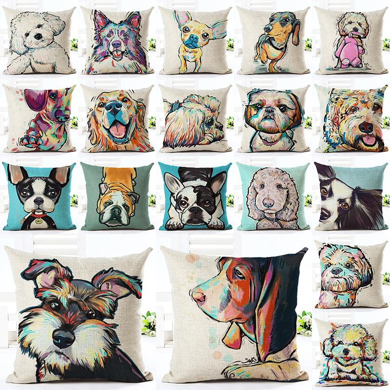 2016 High Quality Cute Dog Pillow Almofadas Linen Pillow Decorative Linen Cushion Without Filling