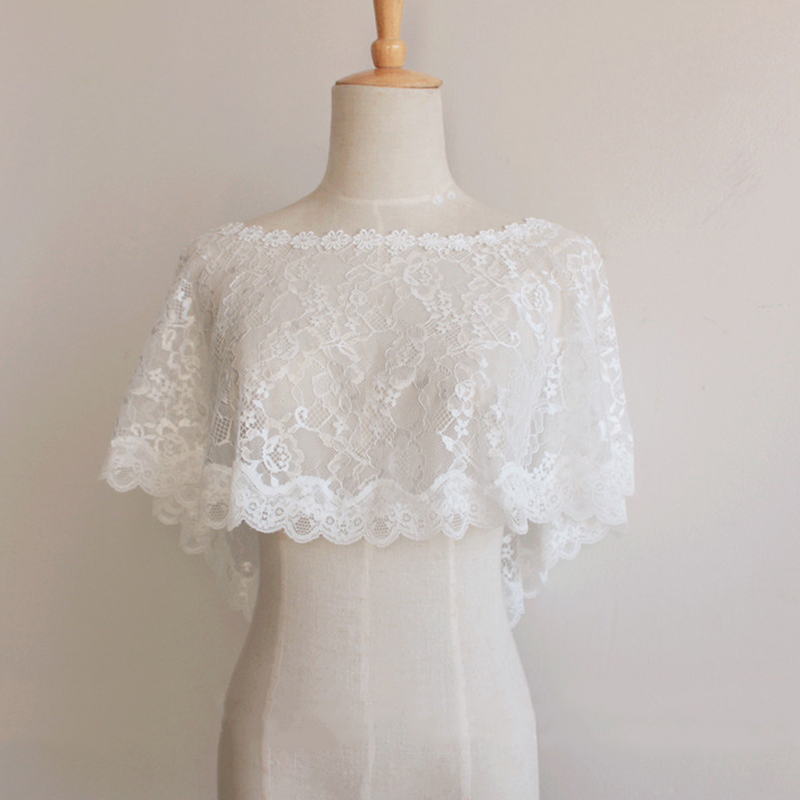 Купить с кэшбэком Sexy Short Flower Lace Women Bridal Wedding Bolero Jacket Wrap Shawl Cape Stole Coat Wedding Accessories