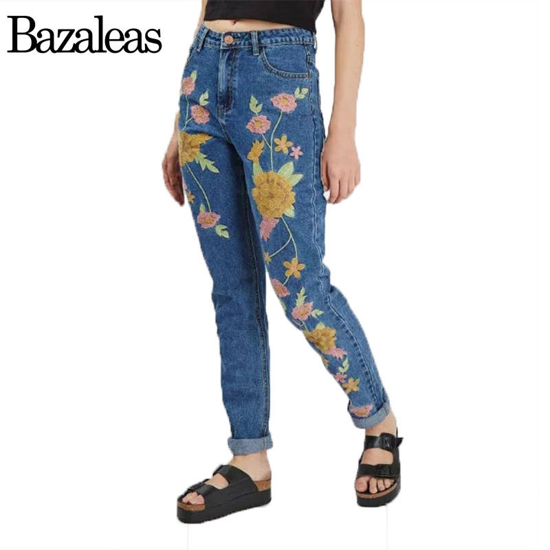 Bazaleas 2017 Fashion Flower Embroidered Mom Jeans Female Blue Casual Pants Capris Spring Pockets Jeans Women Bottom Casual bazaleas 2017 spring pockets straight denim jeans women bottom flower embroidery jeans female light blue casual pants capris