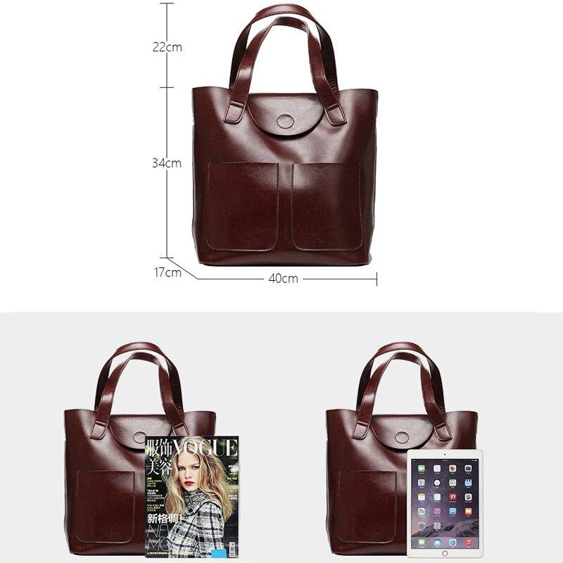 DIENQI 大女性の本革ショルダーバッグ女性ビッグハンドバッグファッションオフィスレトロバッグの女性のハンドバッグ女性のための 2019  グループ上の スーツケース & バッグ からの ショッピングバッグ の中 3