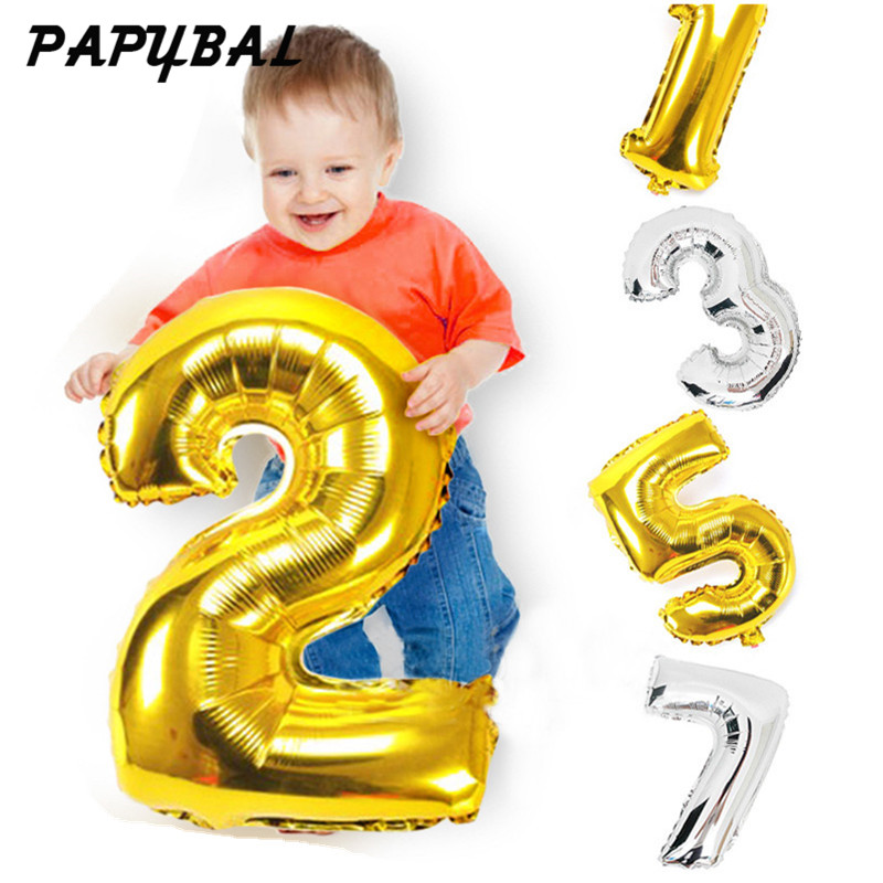 32inch Gold Silver Number Balloon Aluminium Foil Balloons Baby Happy Birthday Valentines Day Wedding Party Supplies Decoration