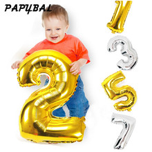 32inch Gold Silver Number Balloon Aluminum Foil Balloons Baby Happy Birthday Valentines Day Wedding Party Supplies Decoration