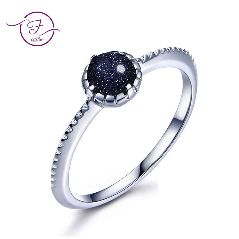 New 925 Sterling Silver Vintage Solitaire Round Natural Stone Blue Sand Ring For Women Fine Jewelry Anniversary Gifts Wholesale