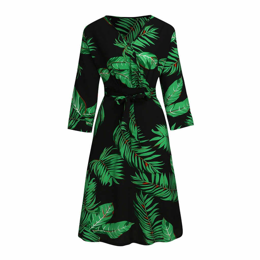 Plus ขนาดสำหรับสุภาพสตรีชุดลำลองสามไตรมาสแขนเสื้อลึก V คอ Tropical พิมพ์ผ้าพันแผล Lace Up ผู้หญิงชุด Maxi