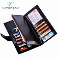 2016 New Fashion Business Envelope Women Male Black Red Wallet Hit Color 3 Fold PU Leather Wallet Long Ladies Clutch Coin Purse