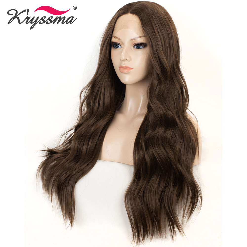 Long Wavy Wig Dark Synthetic Lace Front Wig Brown Wigs For Women 22 Inches Middle Parting Hair Glueless Heat Resistant Fiber(China)