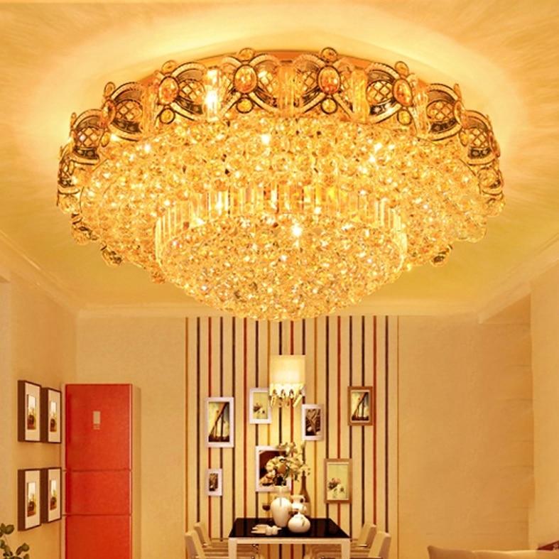 Moderne Lampade A Soffitto di Cristallo LED Luci A Soffitto Oro Casa Apparecchio Warm Neutral Bianco Freddo 3 Colori Variabile con Regolatore - 2