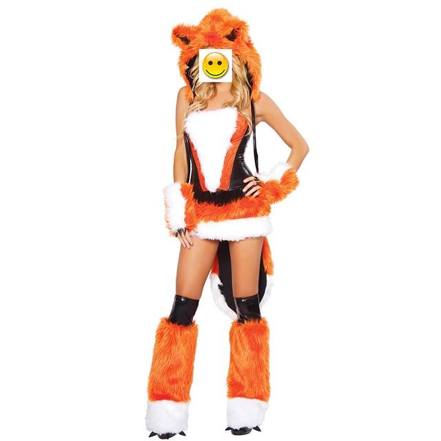Vashejiang Anime Orange Fuchspelz Kostüm Frauen Fantasia Tier Wolf