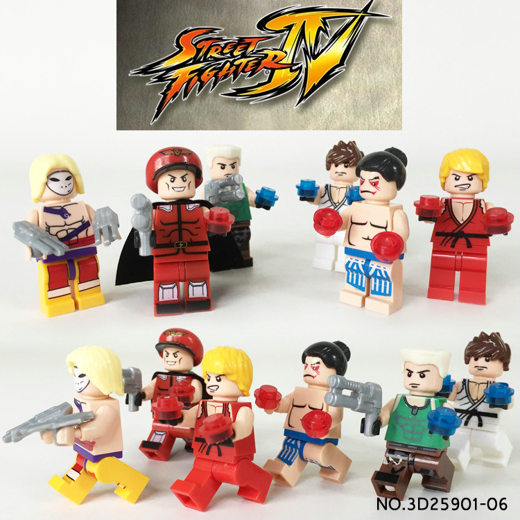 ФОТО 6pcs street fighter ryu/ken/guile vega dhalsim assemble building doll 3d model minifigures bricks blocks kids toy gifts