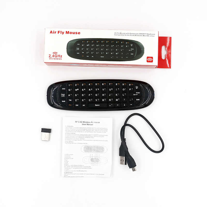 e2f52963f11 ... New Update Gyroscope Fly Air Mouse C120 Plus Wireless Game Keyboard  Android Remote Controller Rechargeable 2.4