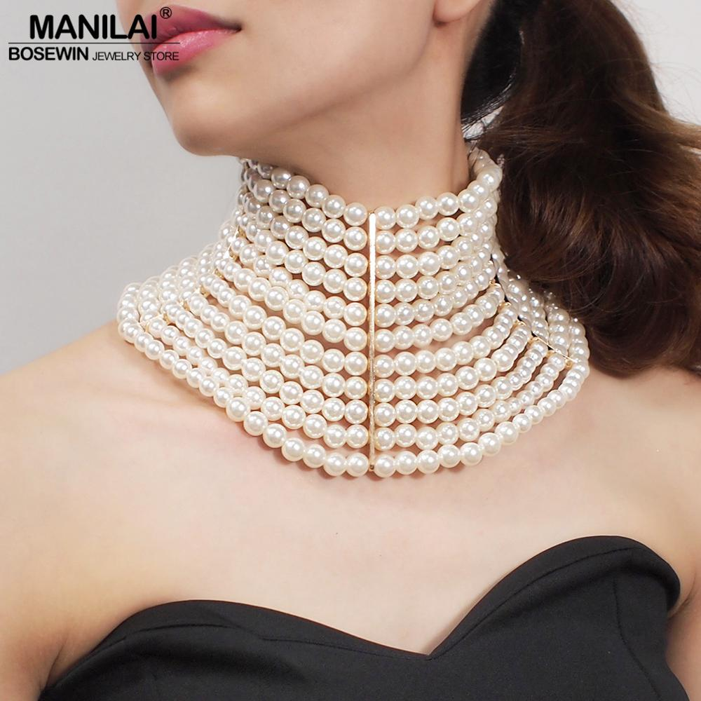 MANILAI Brand Imitation Pearl Statement Necklaces For Women Collar Beads Choker Necklace Wedding Dress Beaded Jewelry 2019Choker Necklaces   -