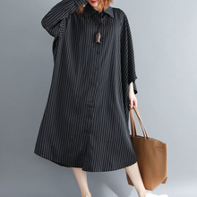 BUYKUD Office Lady Dress Elegant 2018 Autumn New Striped Long Dress Irregular Sleeve Dress Literary Loose Plus Size dress