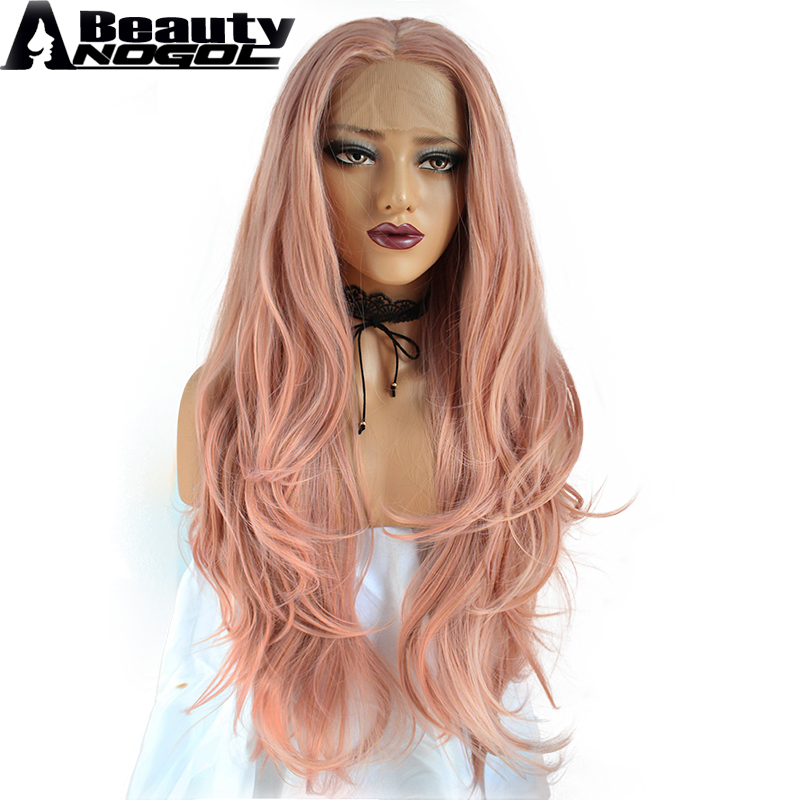 ANOGOL BEAUTY High Temperature Fiber Long Brazilian Hair Full Wigs Pink Body Wave Synthetic Lace Front Wig For Women Costume