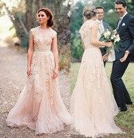 Vintage Blush Lace Appliques Deep V Neck Capped Sleeves Court Train Bridal Gowns Plus Size Vestido De Noiva Bridesmaid Dresses
