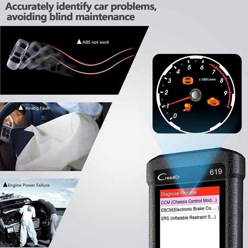 Crash Data Car Diagnostic CR619 OBD2 Automotive Scanner For ABS SRS Airbag 2