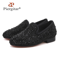 Piergitar 2019 new rhinestone children loafers handmade party and wedding kid casual shoes parental shoe same men loafers design