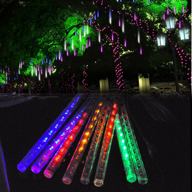 US Plug 20CM Led Meteor Rain Light Festival New Year ...