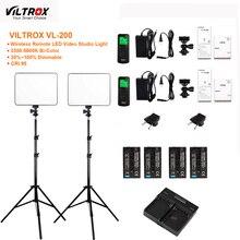 2x VILTROX VL 200 Ultra mince Dimmable bi couleur LED Kit de lumière vidéo/3300 K 5600 K CRI 95 + 2x support de lumière + 1 xcharger + 2xNP F550
