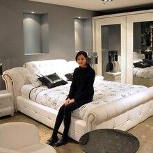 1,5 м 1,8 м белая европейская кожаная кровать для спальни# CE-095