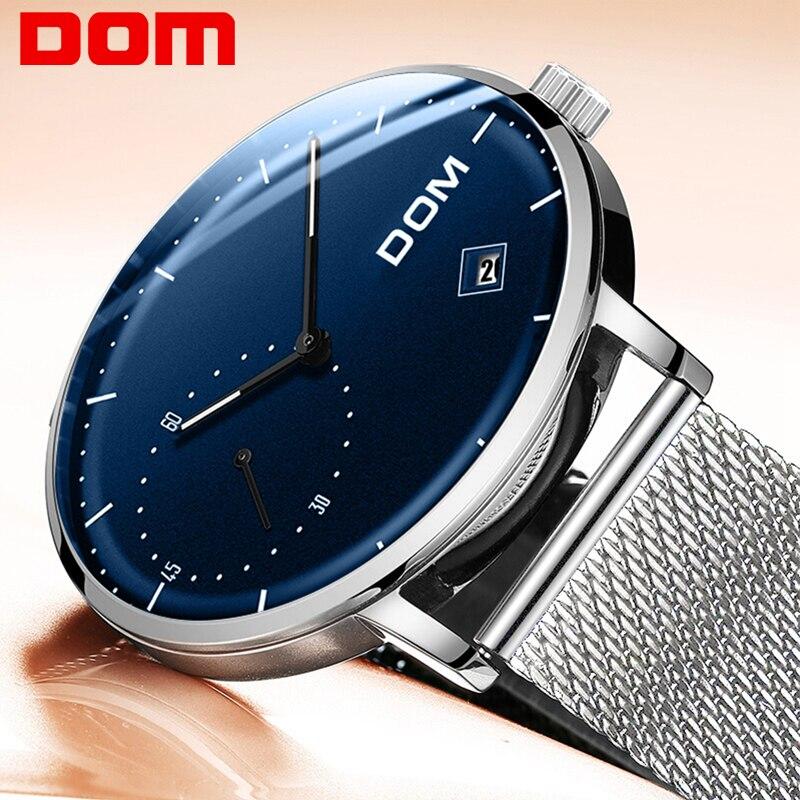 Лучший бренд класса люкс кварцевые часы для мужчин повседневное черный DOM кварцевые часы нержавеющая сталь календари ультра тонкий ч...