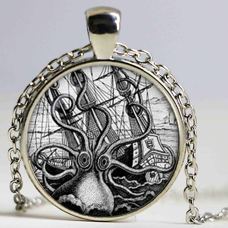 Steampunk octopus on the nebula pendant octopus necklaces collier Steampunk octopus jewelry Gift for men for her