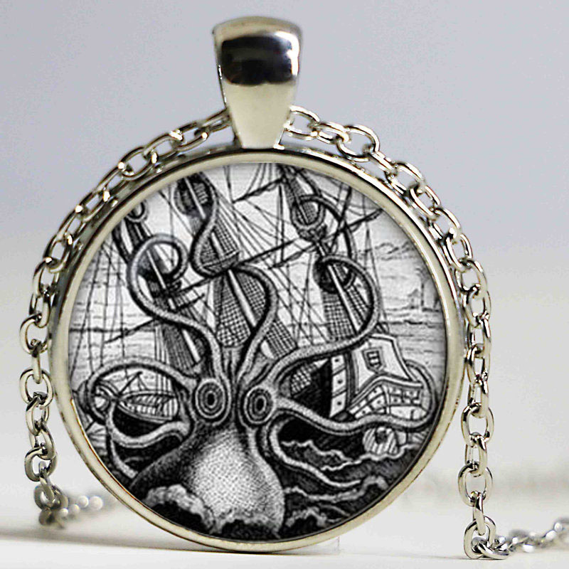4d346f168d4716 Ośmiornica na octopus nebula wisiorek naszyjniki collier steampunk  steampunk octopus biżuteria prezent dla mężczyzn dla niej