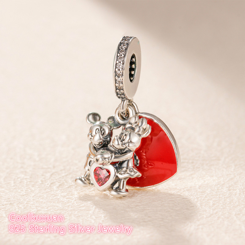 Image 2 - 925 Sterling Silver Minnie & Mickey With Love Charm beads Fit Original Brand Charms Bracelet DIY jewelry 2019 Valentine's Day