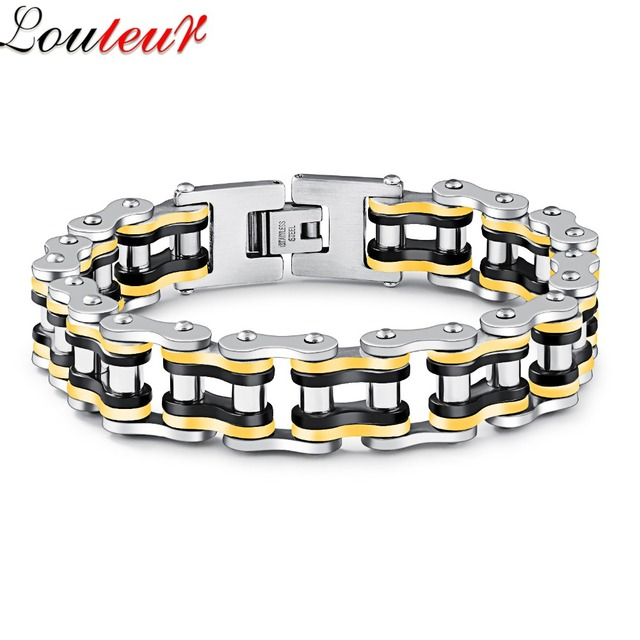 Louleur 2017 Punk Bicycle Motorcycle Chain Bracelet For Men High Quality Stainless Steel Biker Bracelets