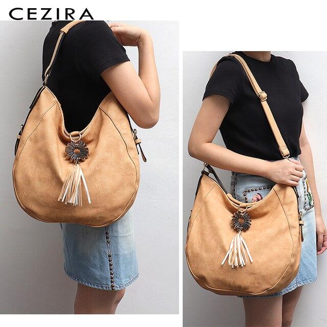 CEZIRA Womens Bag Single Shoulder Bag New Handbag of 2018 Flower Tassel Large Capacity Hobo Female Round Shoulder&Messenger Bag 1