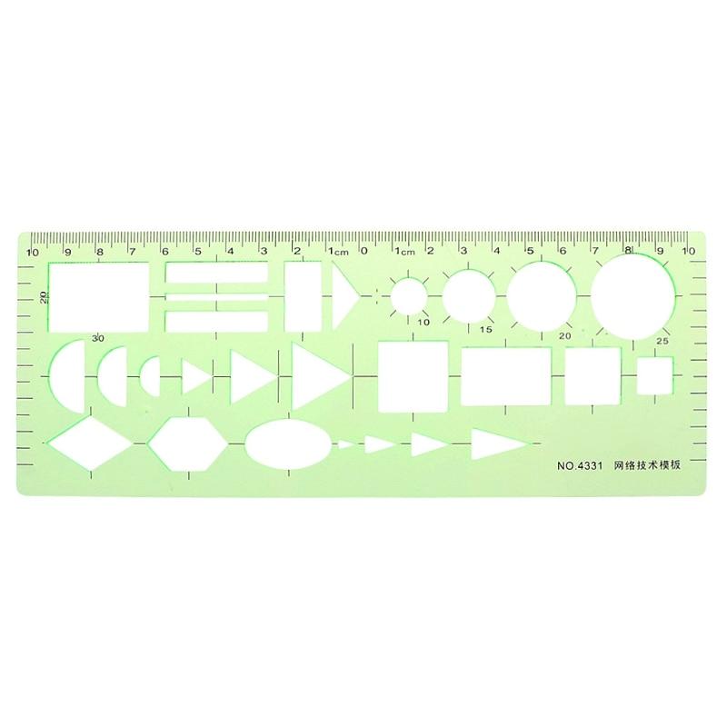 Pro Plastic Circles Square Round Geometric Template Ruler Stencil Measuring Stationery School Accessories