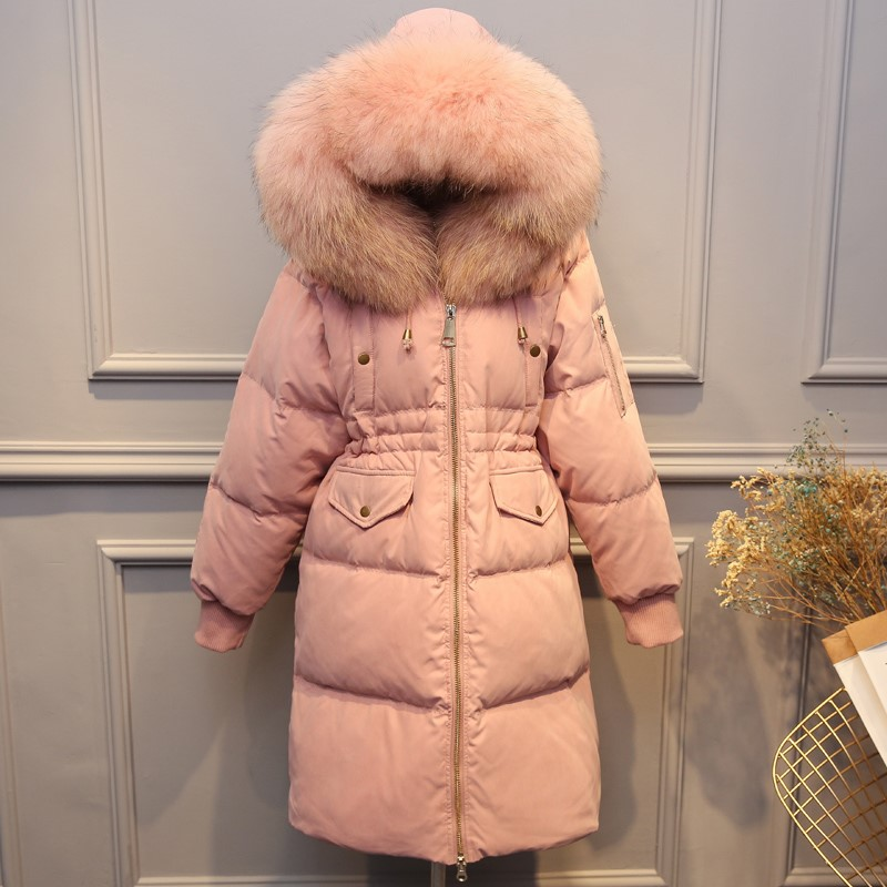 Large Real Raccoon Fur 2019 Winter Jacket Women Female Loose Duck   Down   Jacket Long   Down   Parkas Thick Warm Hooded Women   Down     Coat