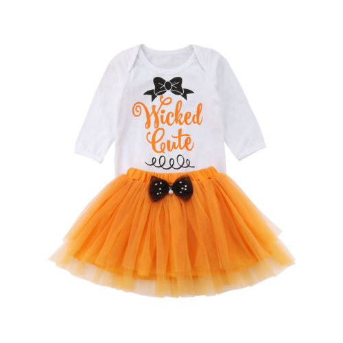 Halloween Newborn Baby Girls Hot Clothing Set Fashion New Letter Long Sleeve Bodysuit Tops Mesh Orange Bow Skirt Outfits Sets sheer mesh bishop sleeve bodysuit
