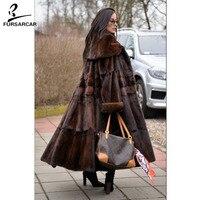 FURSARCAR 2019 New Women Real Mink Fur Coats Whole Skin Thick Warm Mink Fur Jacket For Female Long Style Luxury Nature Fur Coat