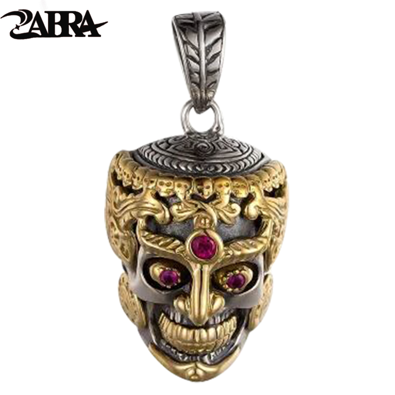 все цены на ZABRA Punk Rock Skull Head Inlay Stone Red Garnet Pendant Necklace for Men Thai Handmade Vintage Men Sterling Silver Jewelry в интернете
