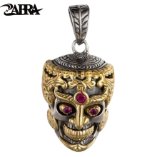 ZABRA Punk Rock Skull Head Inlay Stone Red Garnet Pendant Necklace for Men Thai Handmade Vintage Men Sterling Silver Jewelry