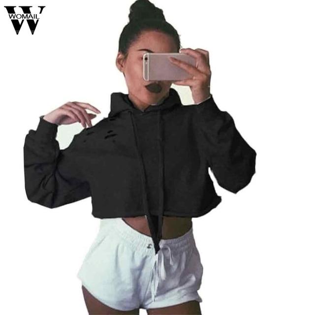 Elegant Women Hoodie Sweatshirt Jumper Crop Top Coat Pullover Tops Dec 14