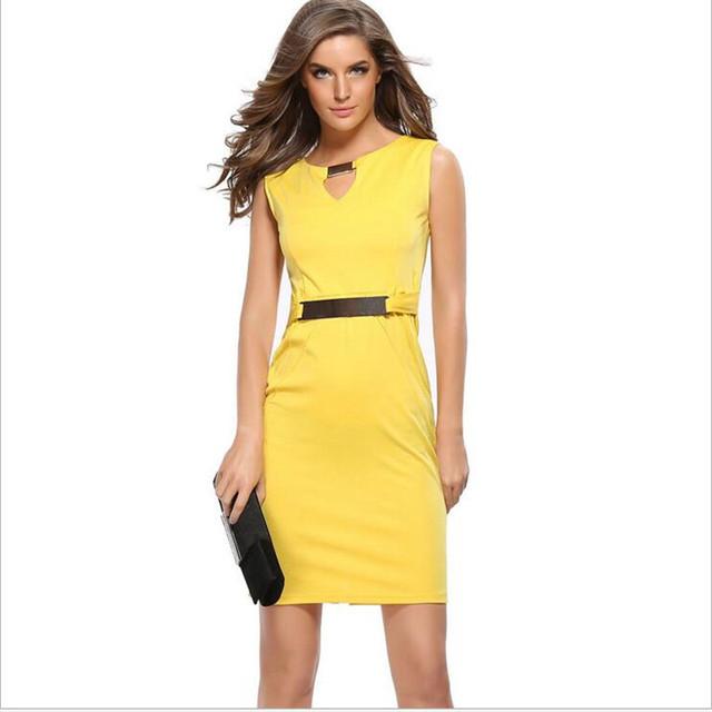 Sleeveless V-Neck Knee-Length Dress