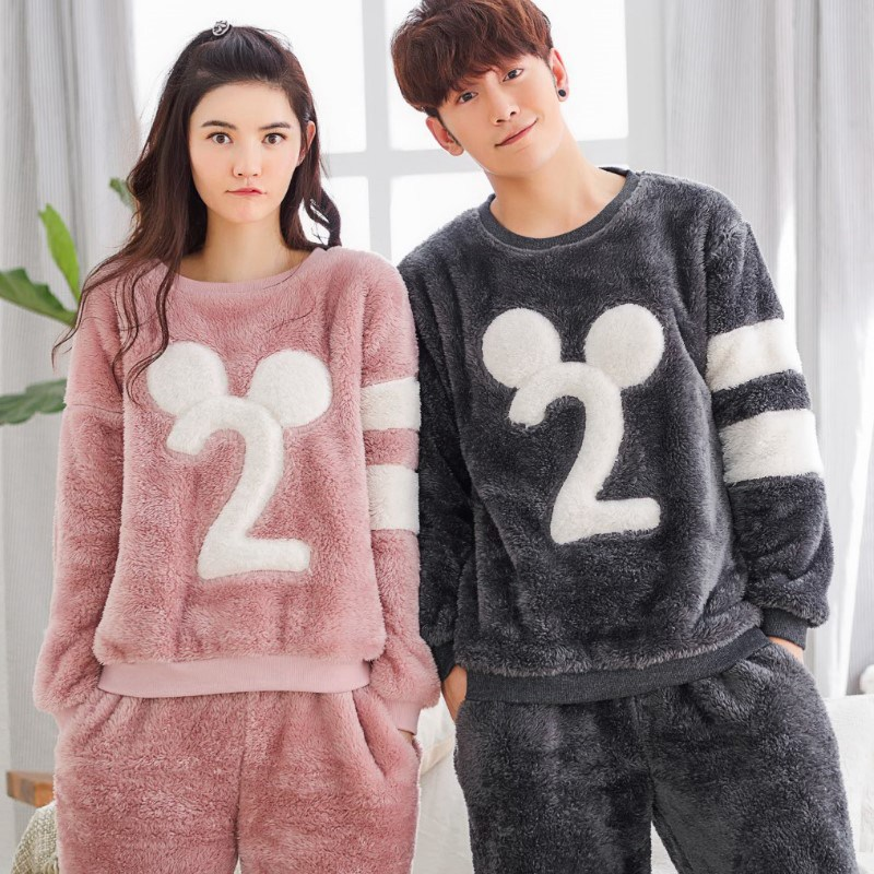 Winter Thicken Flannel Pajamas Sets Women Warm Couple Sleepwear Simple Soft Elegance Male Long-Sleeve Pajamas
