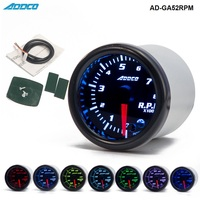 2 52mm 7 Color LED Smoke Face Car Auto Tachometer Gauge Meter With Sensor And Holder