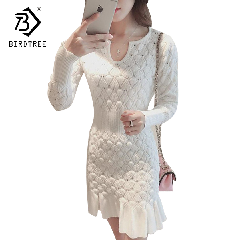 Fashion V Neck Bodycon Basic Mini Solid Color Knitted Dresses 2017 New Autumn Winter Women Sexy Sweaters Ruffles Dresses D7N406A