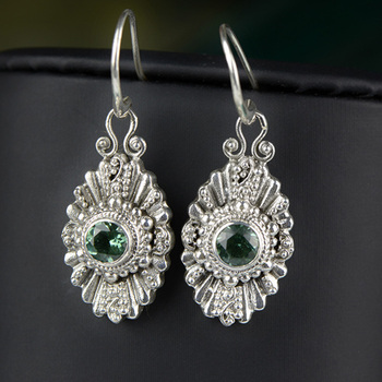 Dangle Earrings Silver Sterling 925 Natural Stone Green Crystal Vintage Big Earrings For Women Fine Jewelry Oorbellen Ringen