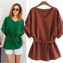 2018 Summer Women Blouses Linen Tunic Shirt V Neck Big Bow Batwing Tie Loose Ladies Blouse Female Top For Tops Plus Size 4XL 5XL